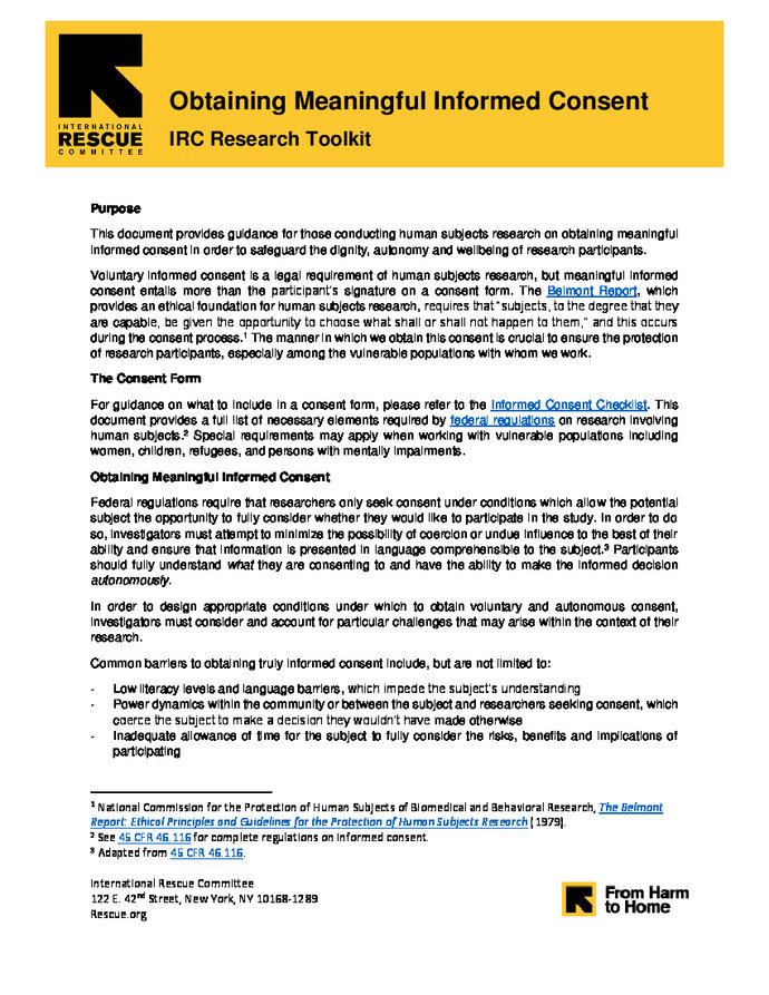 IRC Research Toolkit Obtaining Meaningful Informed Consent - Informed consent process documentation template